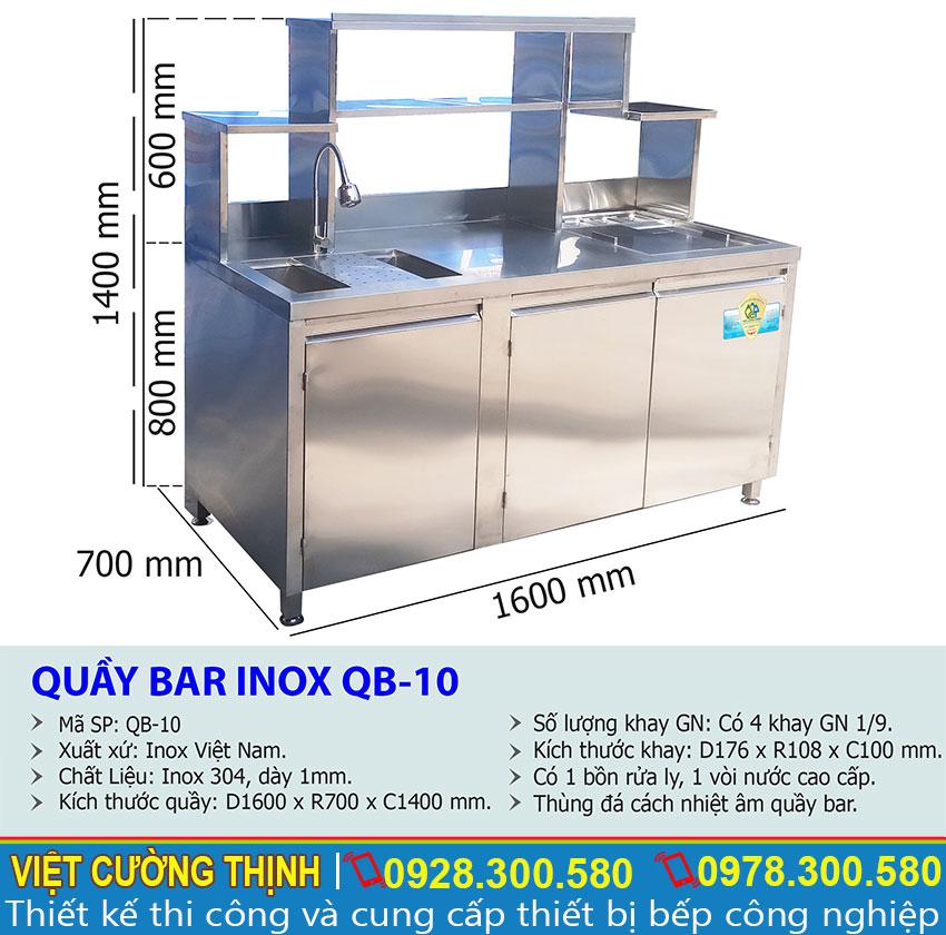 Thông số kỹ thuật Quầy Bar Pha Chế Trà Sữa Inox Cao Cấp QB-10