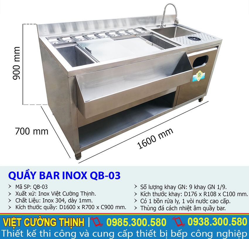 Thông số kỹ thuật Quầy Pha Chế 1m6 Inox 304 Cao Cấp QB-03