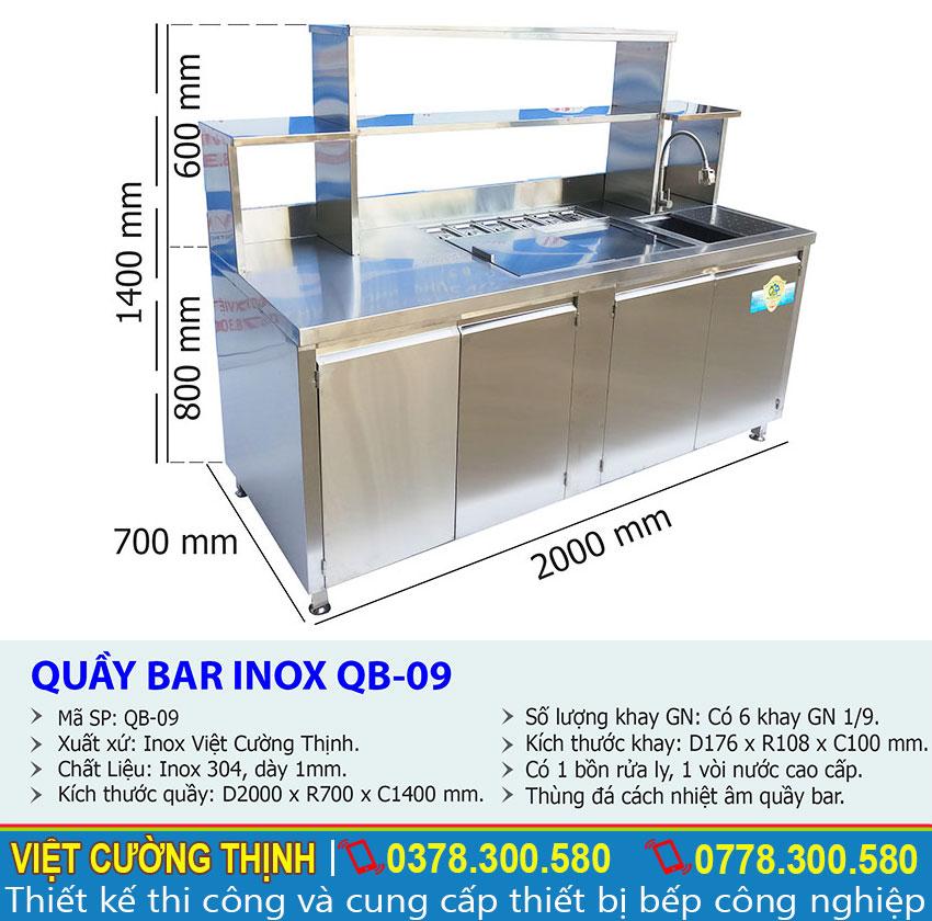 Thông số kỹ thuật Quầy Pha Chế Cafe Inox 304 QB-09