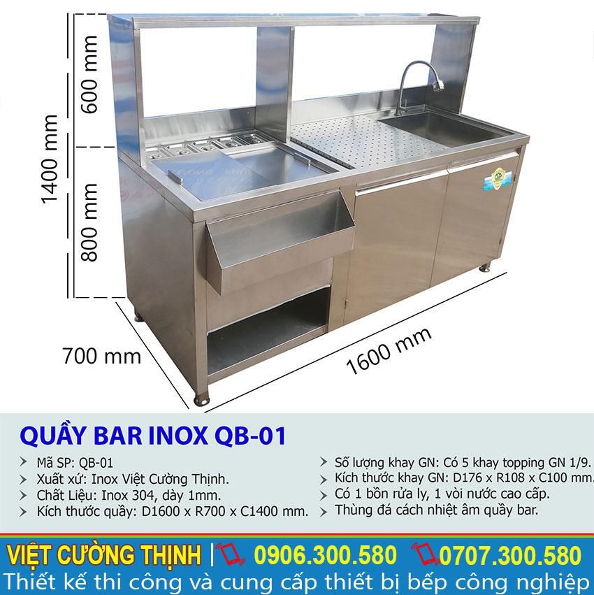Thông số kỹ thuật Quầy Pha Chế Inox QB-01