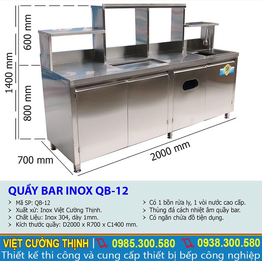 Thông số kỹ thuật Quầy bar pha chế trà sữa inox QB-12