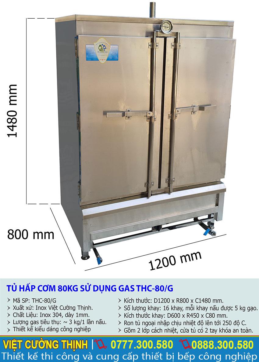 Thông số kỹ thuật tủ nấu cơm công nghiệp 80kg sử dụng gas THC-80G