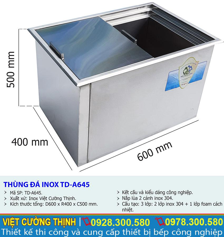 Thông số kỹ thuật Thùng đựng đá âm bàn inox 304