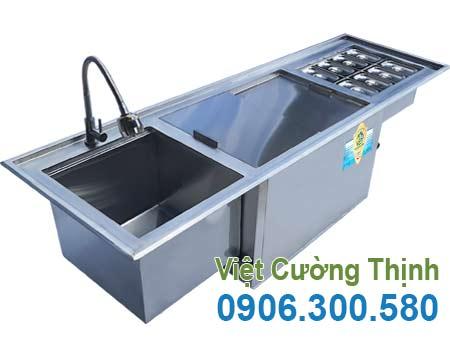 Bộ chậu rửa - thùng đá - khay GN âm quầy QB-15