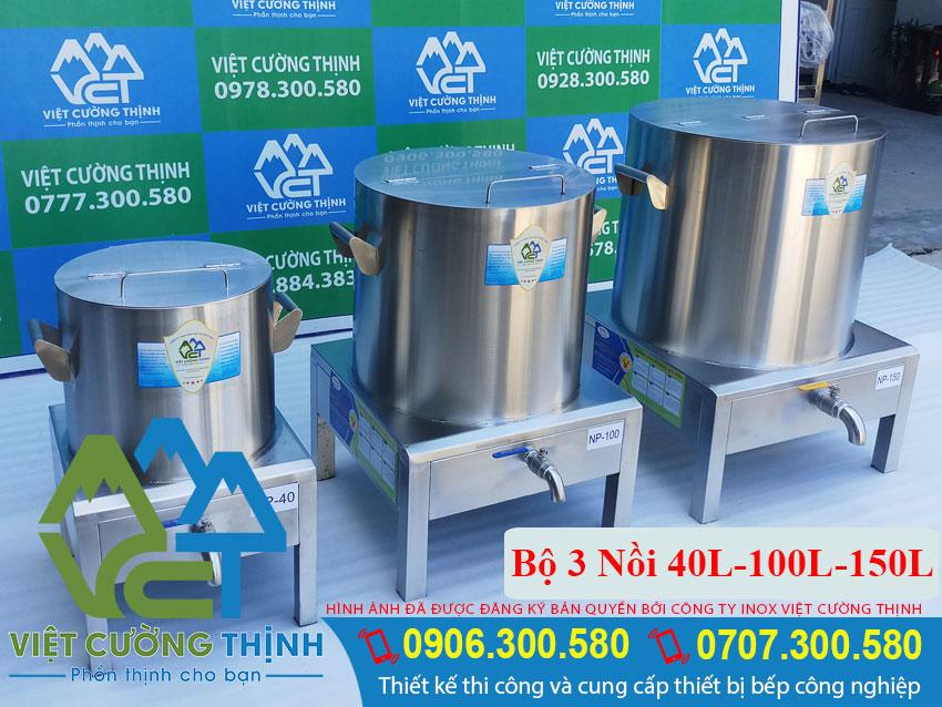 Bộ 3 Nồi Nấu Phở Điện 40L-100L-150L đẹp, chất lượng
