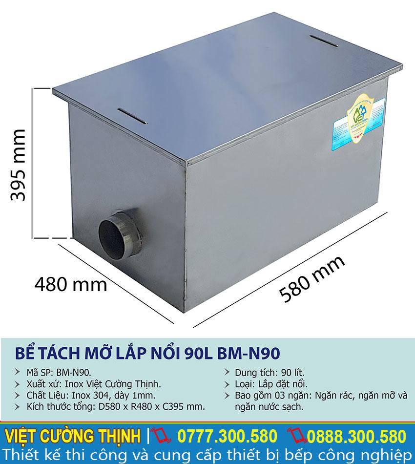 Thông số kỹ thuật bể tách mỡ inox nhà hàng 90l BM-N90