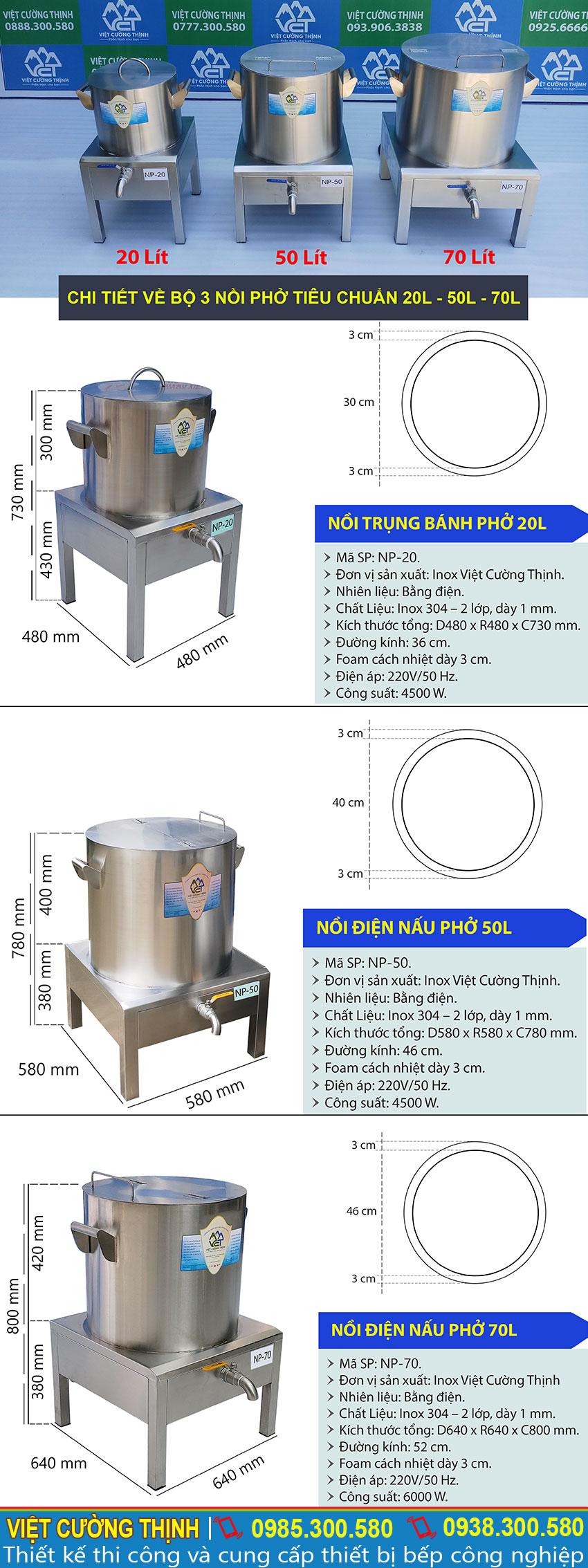 Thông số kỹ thuật Bộ Nồi Nấu Phở Công Nghiệp Bằng Điện 20L-50L-70L