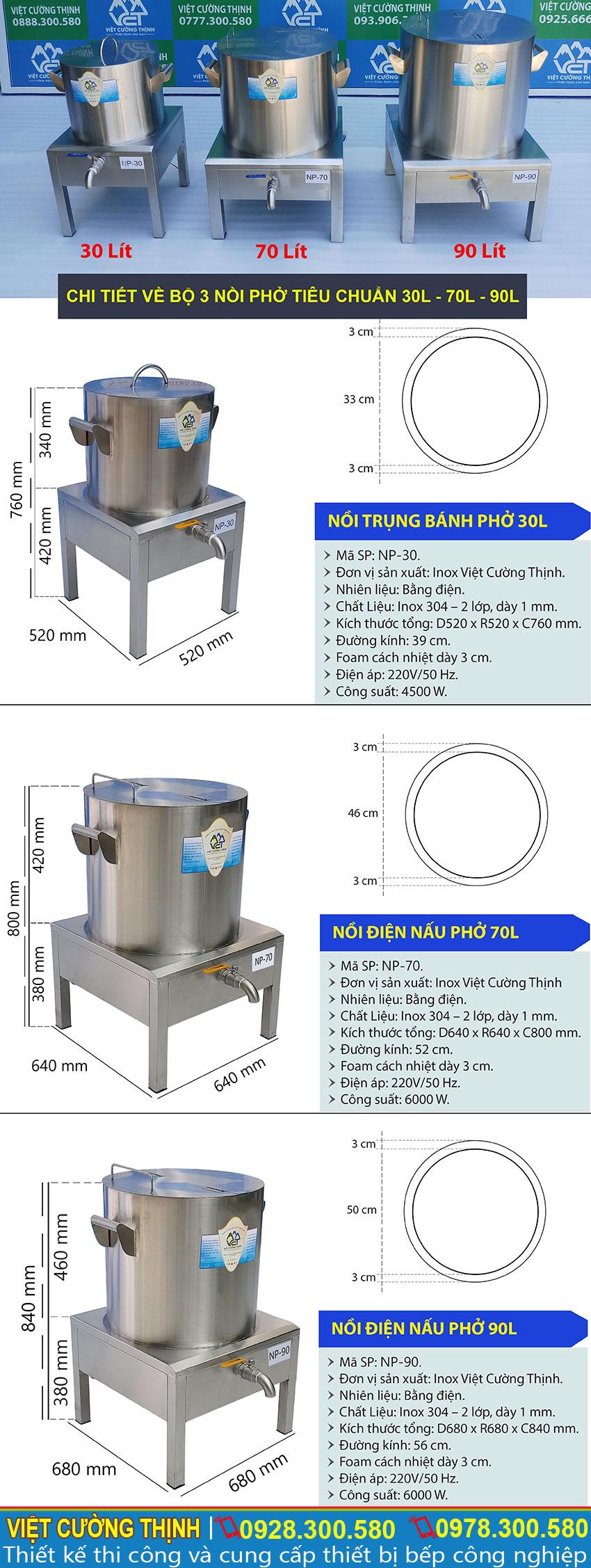 Thông số kỹ thuật Bộ Nồi Nấu Phở Bằng Điện Tiêu Chuẩn 30L – 70L – 90L