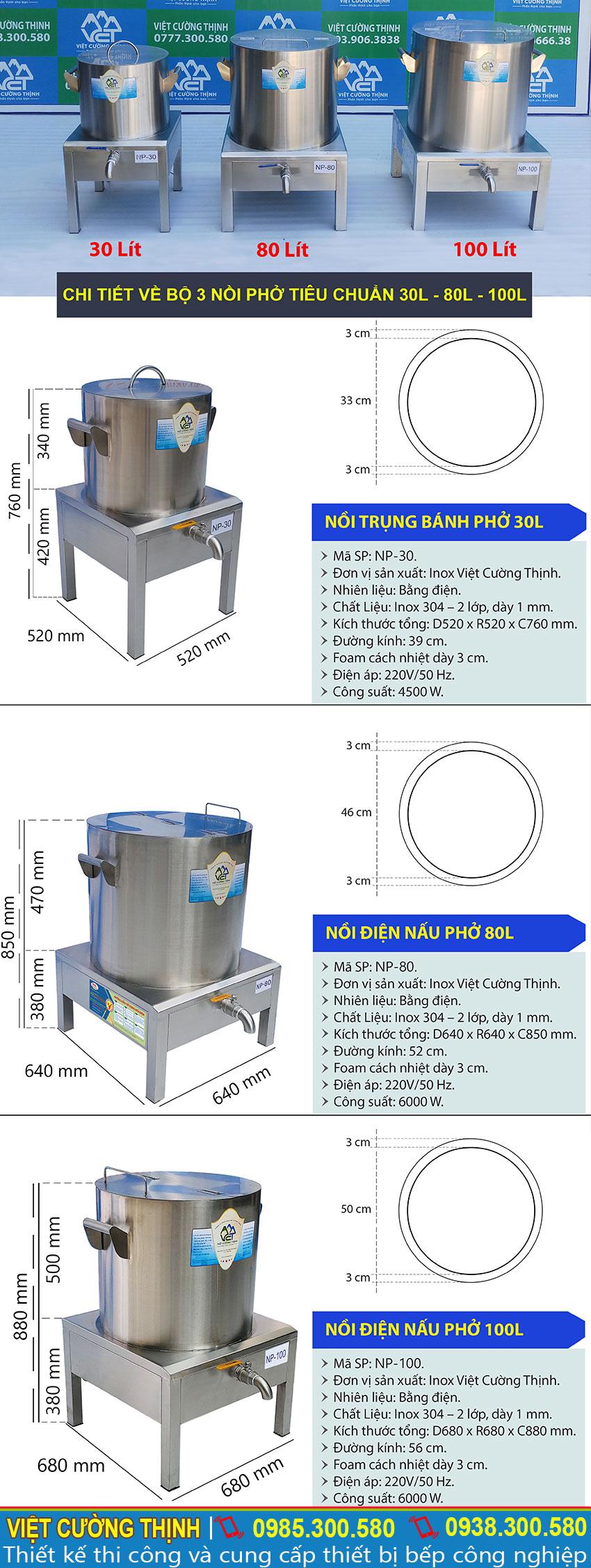 Thông số kỹ thuật Bộ Nồi Nấu Phở Công Nghiệp Tiêu Chuẩn 30L-80L-100L