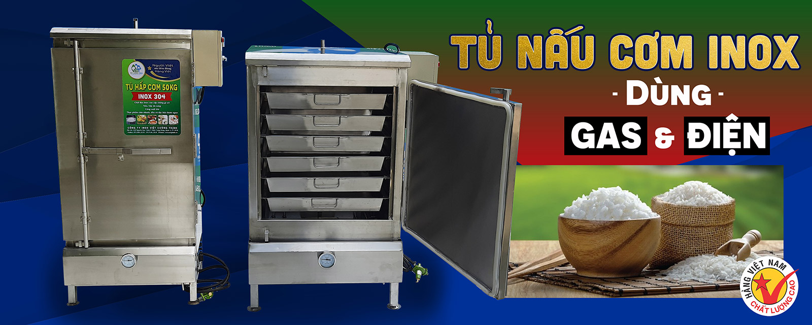 Tủ nấu cơm công nghiệp thương hiệu Việt Cường Thịnh