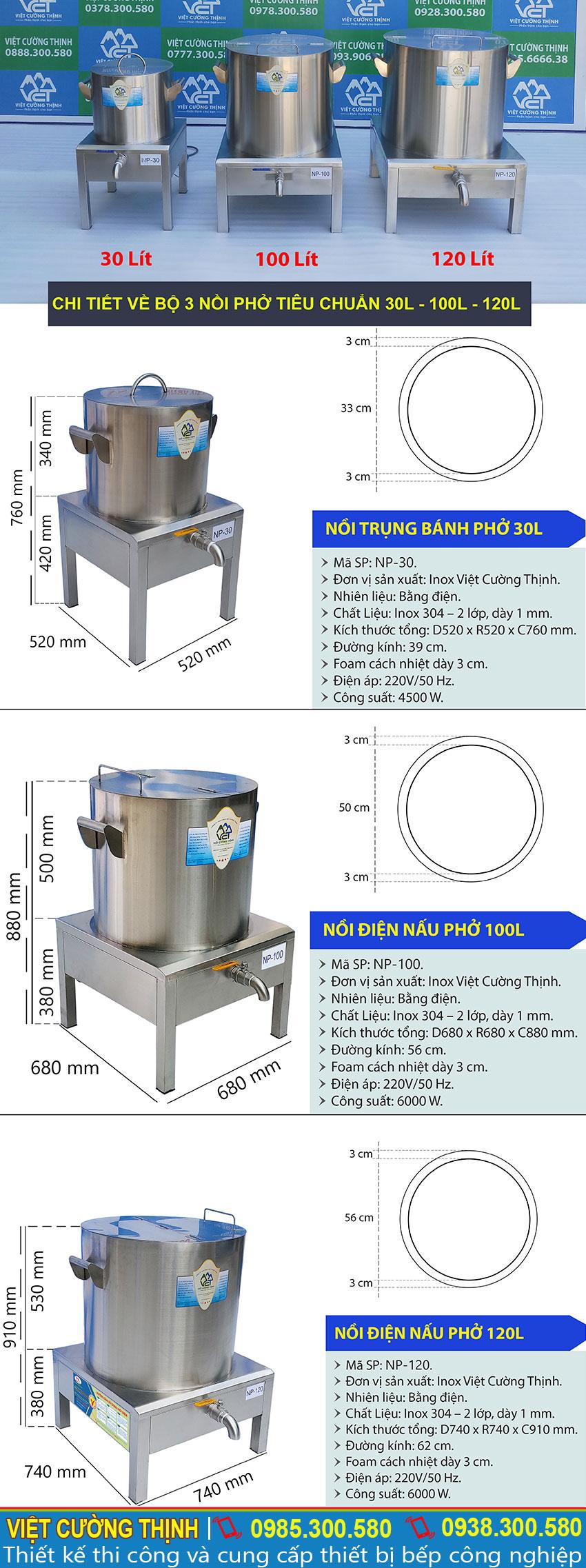 Thông số kỹ thuật Bộ Nồi Nấu Phở Công Nghiệp Bằng Điện Tiêu Chuẩn 30L-100L-120L