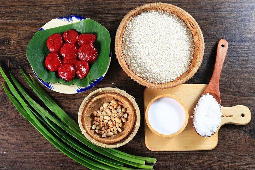 Nguyên liệu chuẩn bị cho món xôi gấc nước cốt dừa