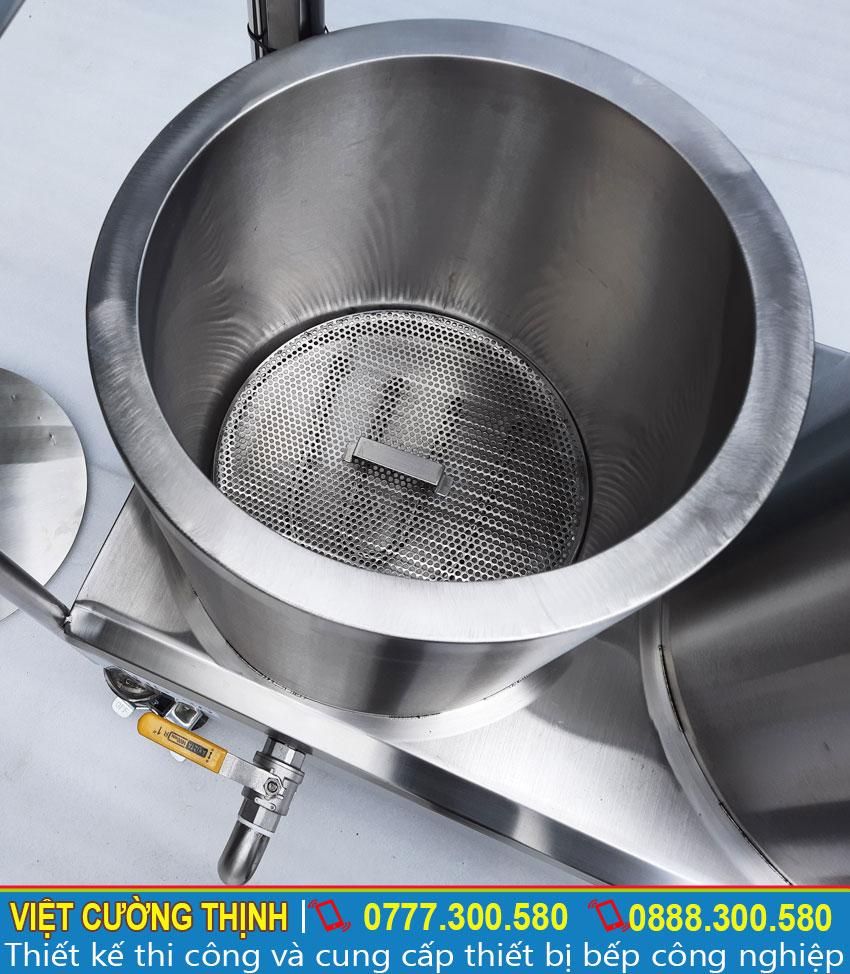 Chi tiết bên trong nồi trụng bánh phở, nồi nấu phở bằng điện 30L.