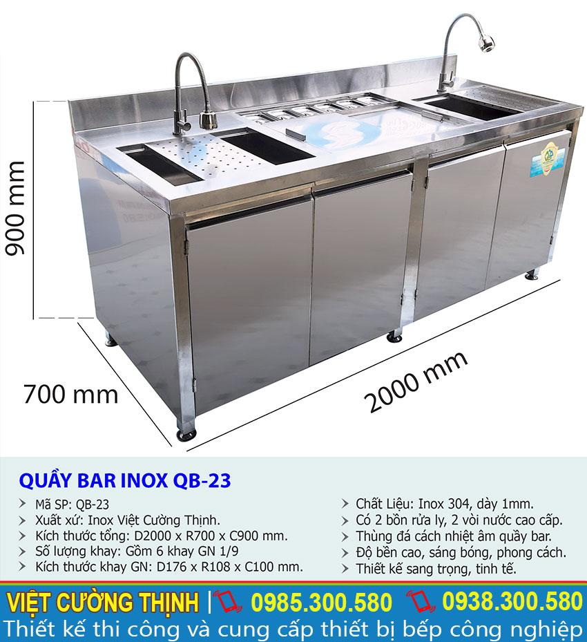 Thông số kỹ thuật Quầy bar pha chế inox QB-23