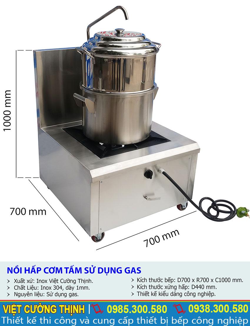 Thông số kỹ thuật nồi hấp cơm tấm bằng gas