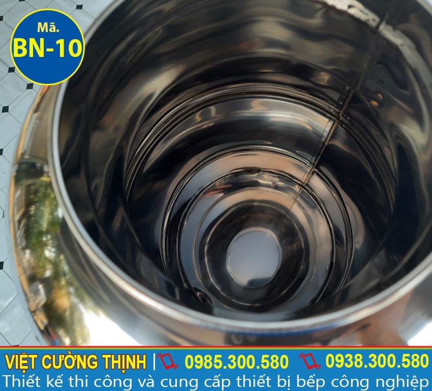 Bên trong bình nước đá inox 10L