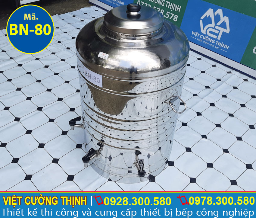 Góc trái bình nước inox 80L