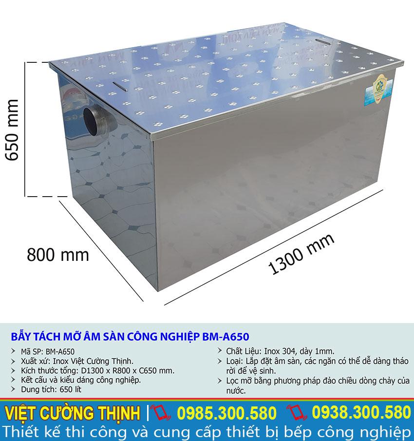 Thông số kỹ thuật Bẫy tách mỡ âm sàn công nghiệp BM-A650
