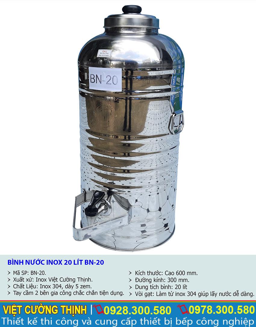 Thông số kỹ thuật Bình đựng nước đá inox 20 lít BN-20