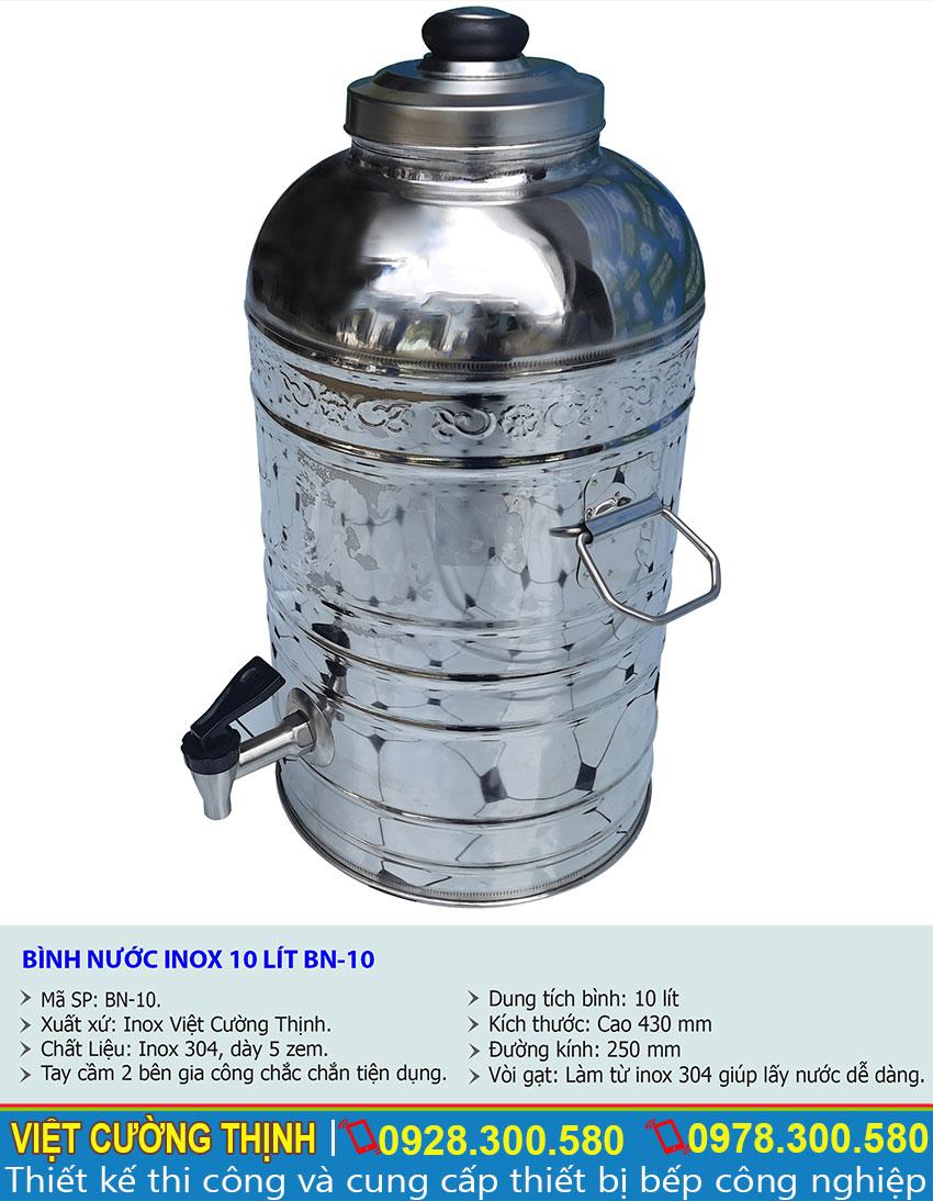 Thông số kỹ thuật Bình nước inox 10 lít BN-10