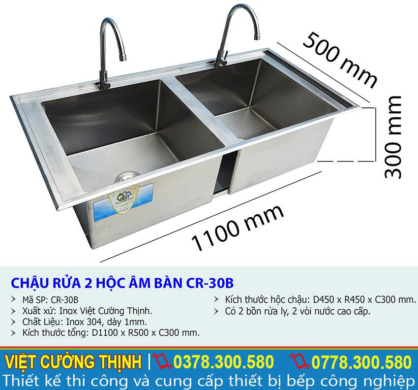 Thông số kỹ thuật chậu rửa âm bàn 2 hộc inox 304 B
