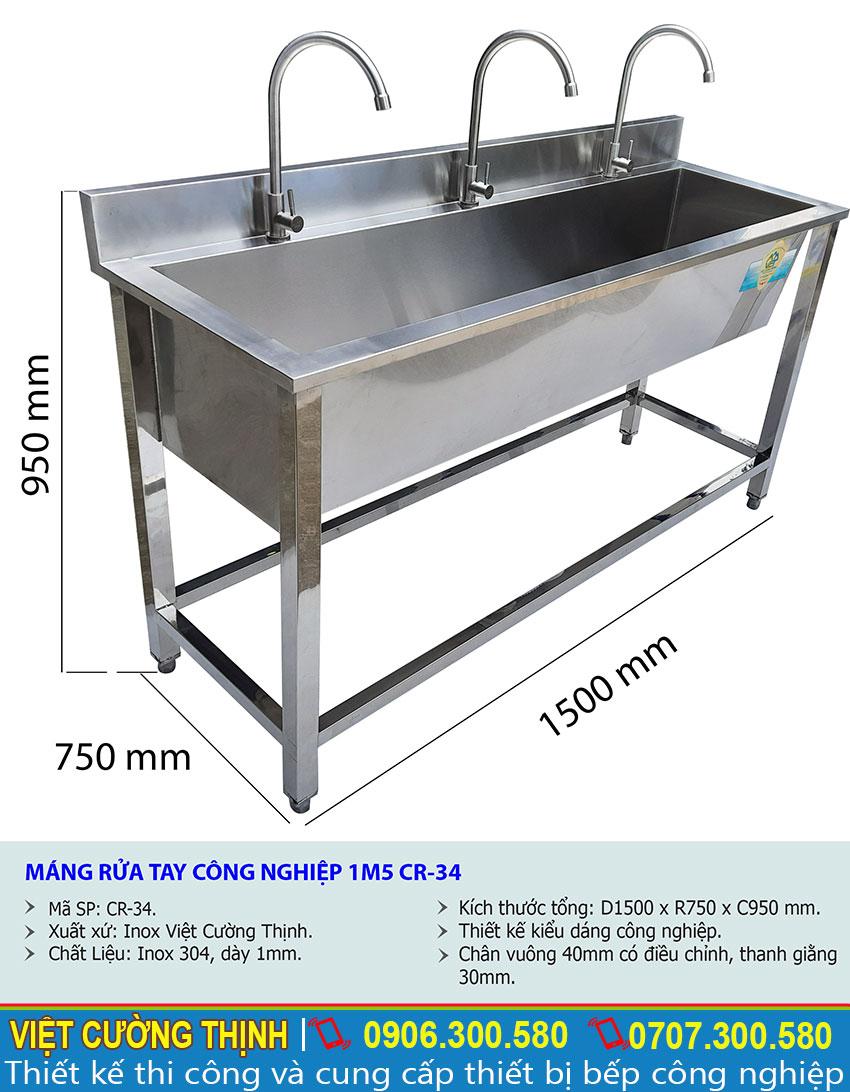 Thông số kỹ thuật Máng rửa tay công nghiệp 1m5 CR-34