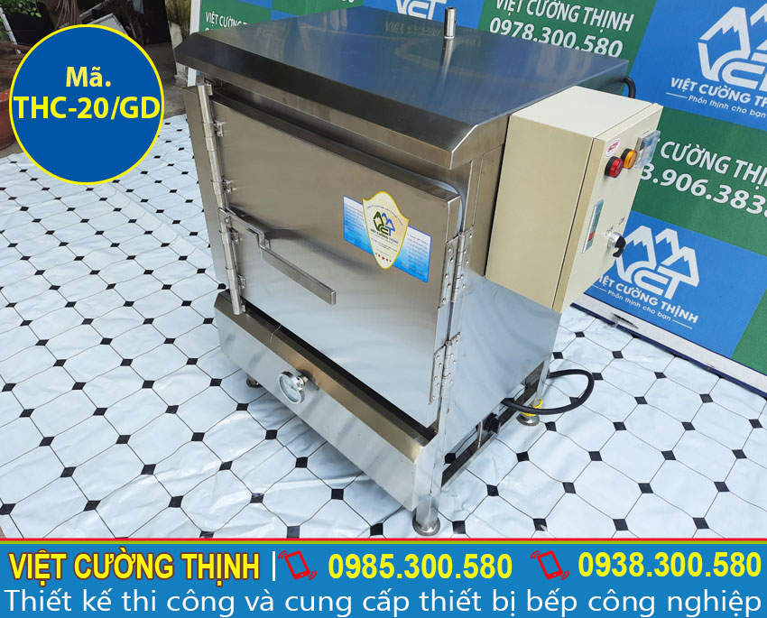 Góc phải tủ nấu cơm sử dụng điện và gas