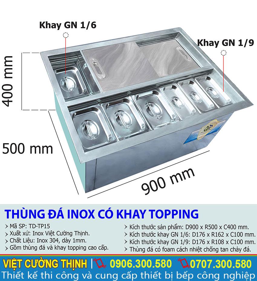 Thông số kỹ thuật Thùng đá inox âm bàn có khay topping TD-TP15