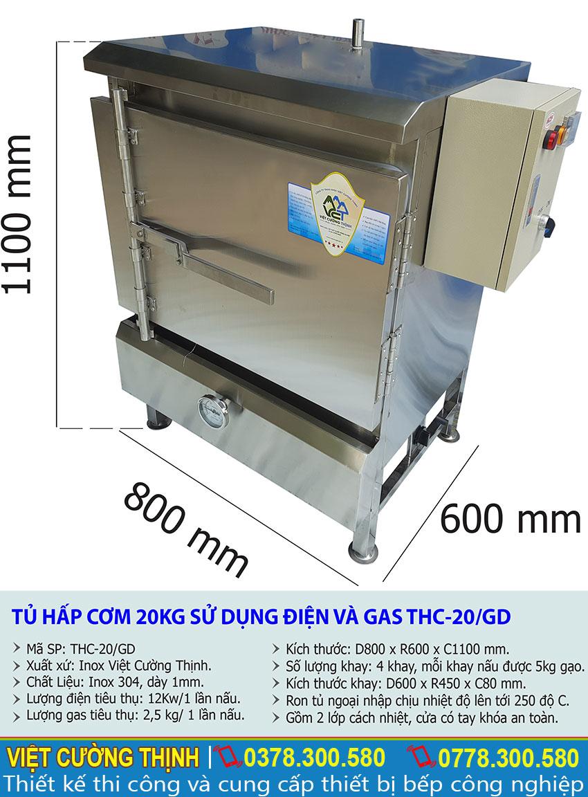 Thông số kỹ thuật Tủ hấp cơm 20Kg sử dụng điện và gas THC-20/GD