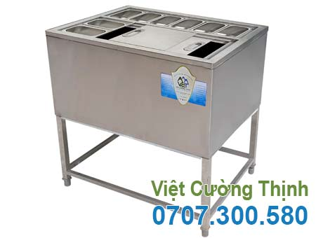 Thùng Đá Inox Khung Chân Có Khay Topping TD-TP02