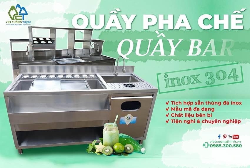 Quầy pha chế inox quầy bar trà sữa inox 304 việt cường thịnh