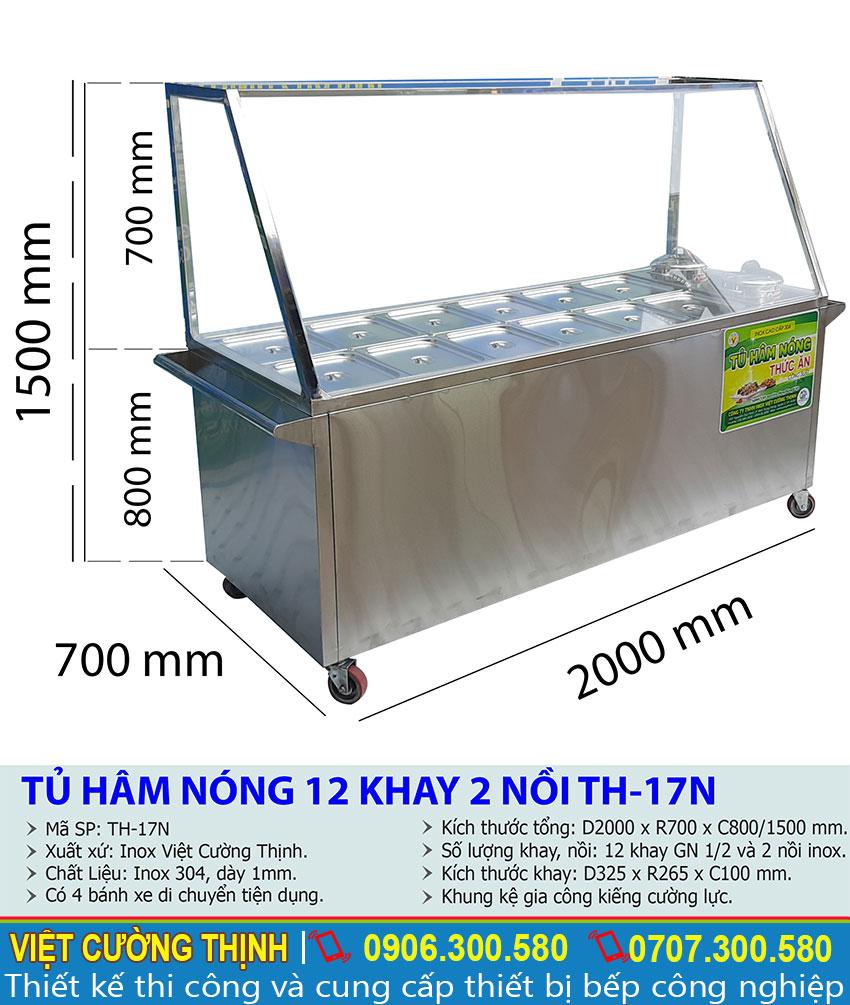 Thông số kỹ thuật Tủ hâm nóng thức ăn 12 khay 2 nồi TH-17N