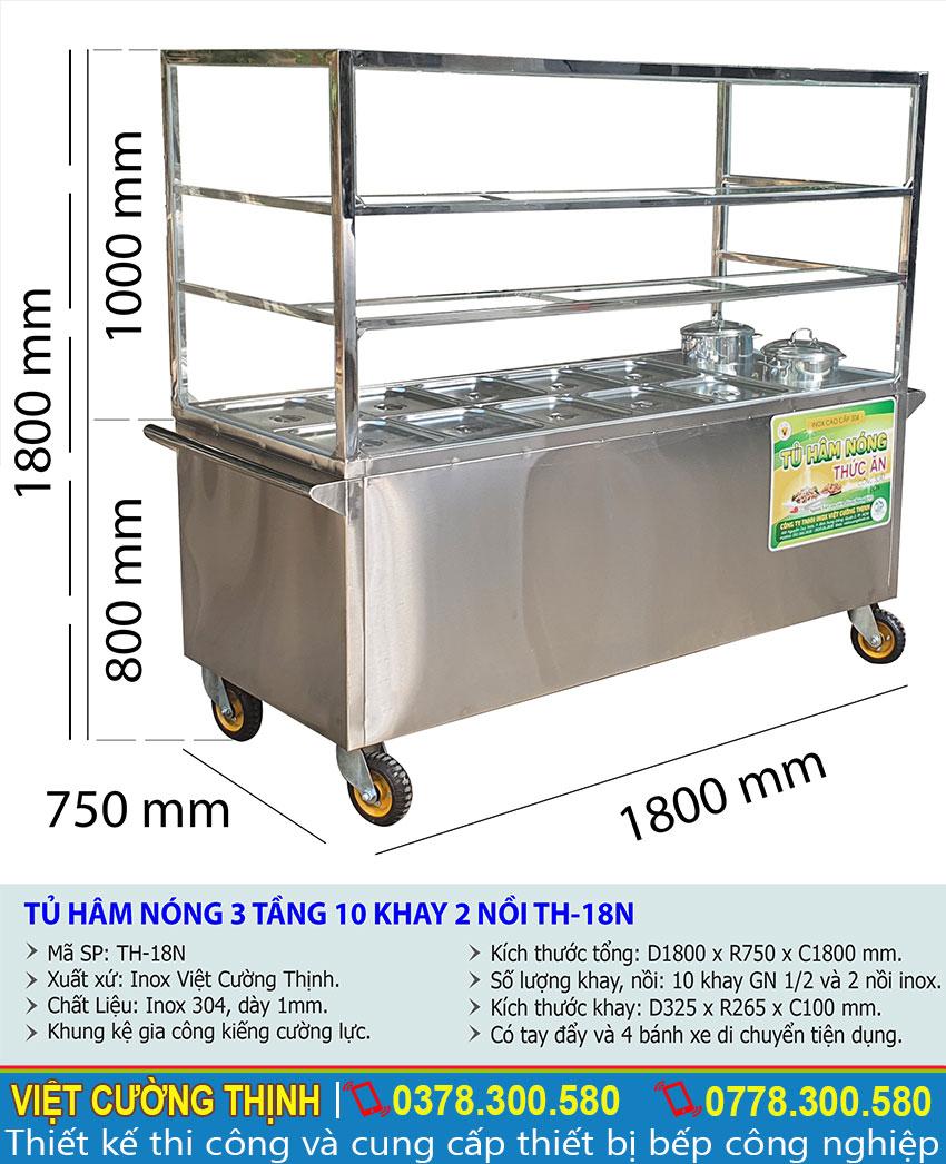 Thông số kỹ thuật tủ hâm nóng thức ăn 3 tầng 10 khay 2 nồi TH-18N