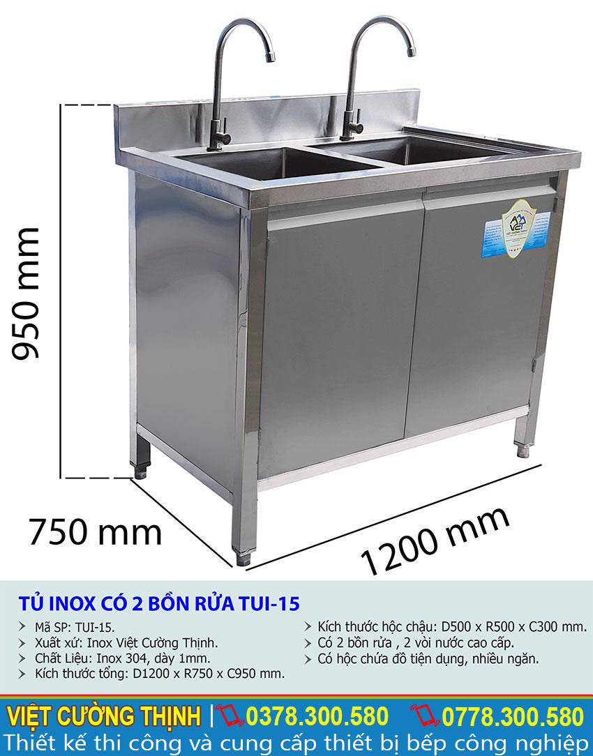 Thông số kỹ thuật Tủ inox có 2 bồn rửa TUI-15
