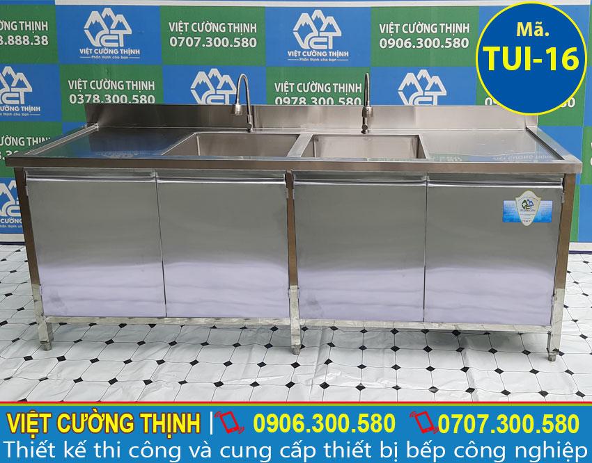 Góc chính diện tủ chén inox 304 có 2 bồn rửa