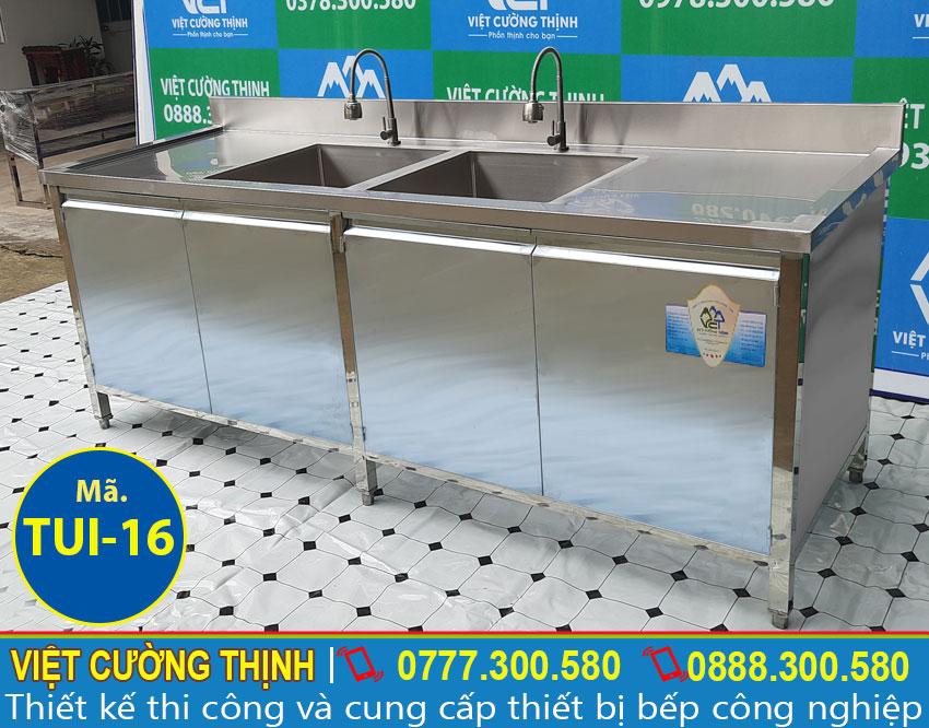 Góc trái tủ inox 304 có bồn rửa 2 hộc