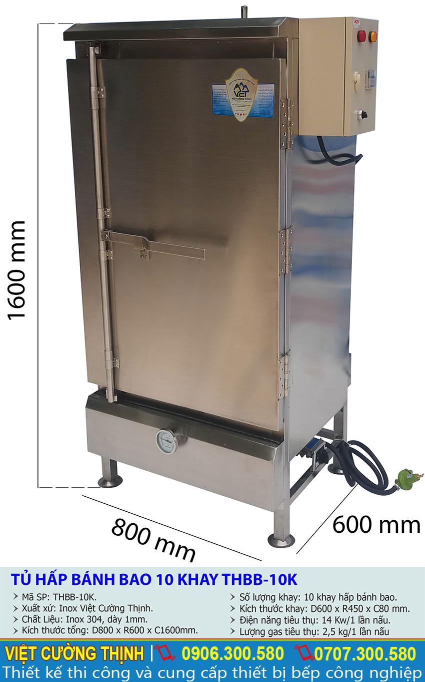 Thông số ky thuật Tủ hấp bánh bao 10 khay THBB-10K