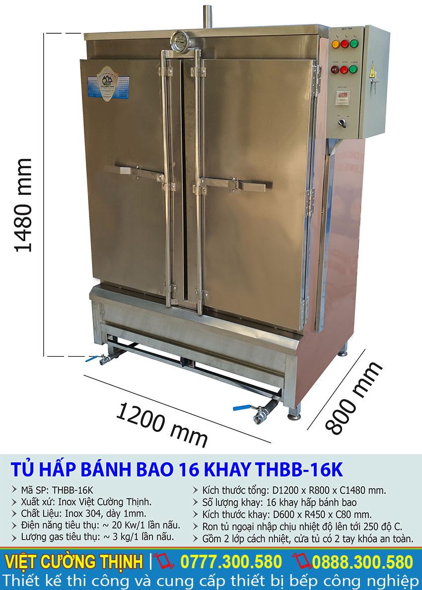 Thông số kỹ thuật Tủ hấp bánh bao 16 khay THBB-16K