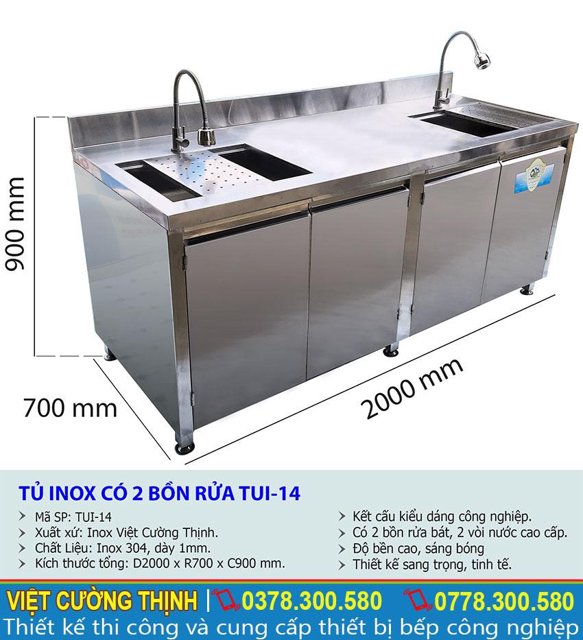 Thông số kỹ thuật Tủ inox có 2 bồn rửa TUI-14