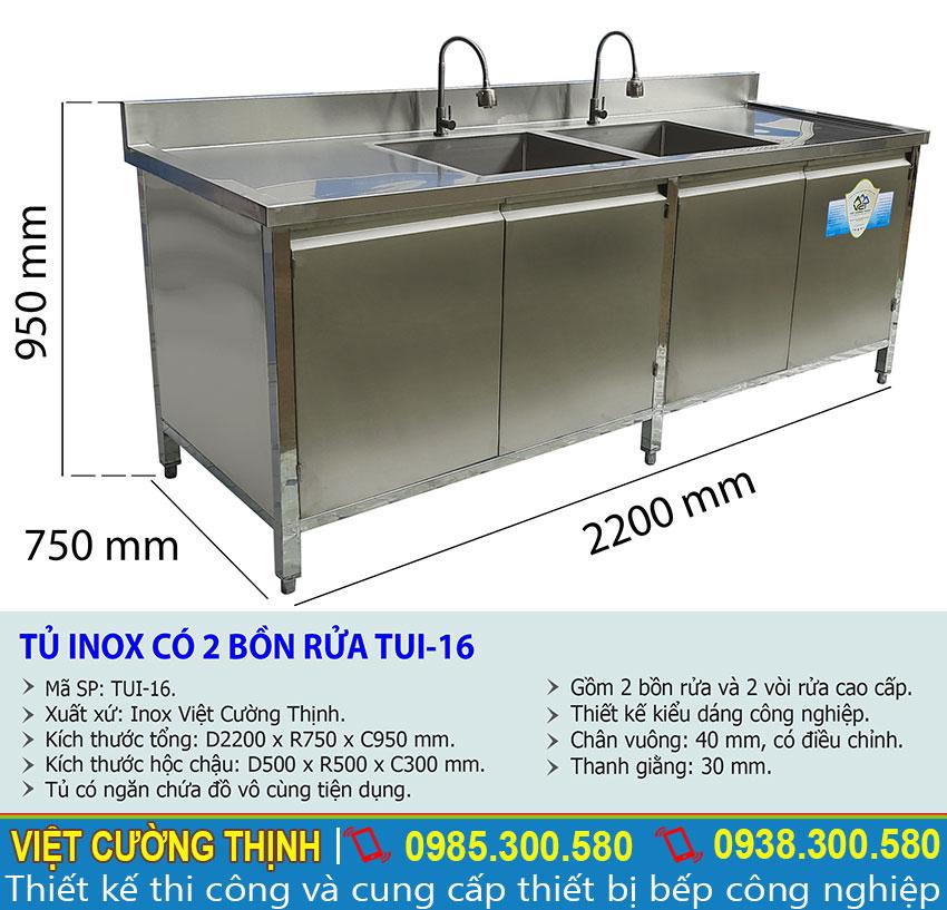 Thông số kỹ thuật Tủ inox có 2 bồn rửa TUI-16