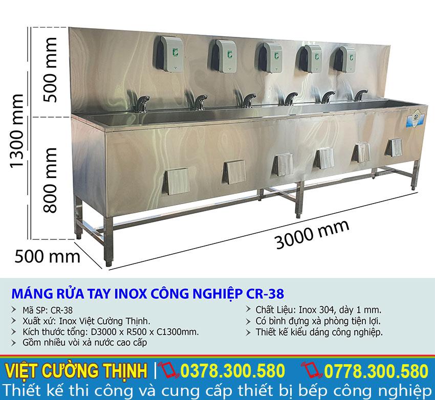 Tỷ lệ kích thước chậu rửa tay công nghiệp CR-38