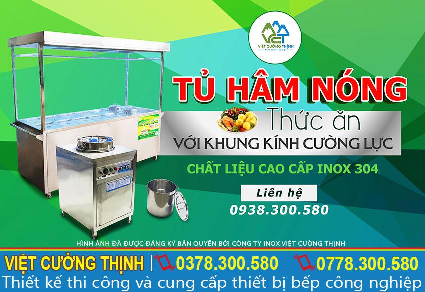 Tủ hâm nóng thức ăn khung kính cường lúc chất liệu inox 304 cao cấp