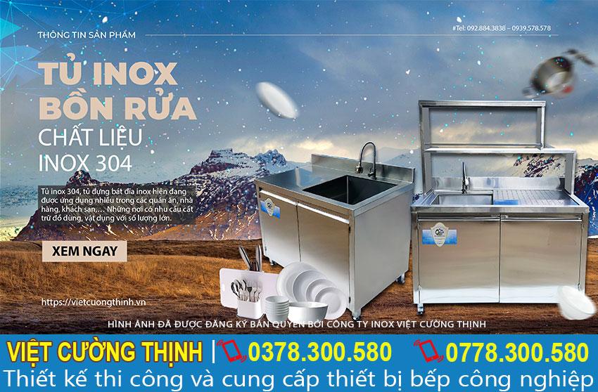 Tủ inox có bồn rửa chất liệu inox 304 cao cấp
