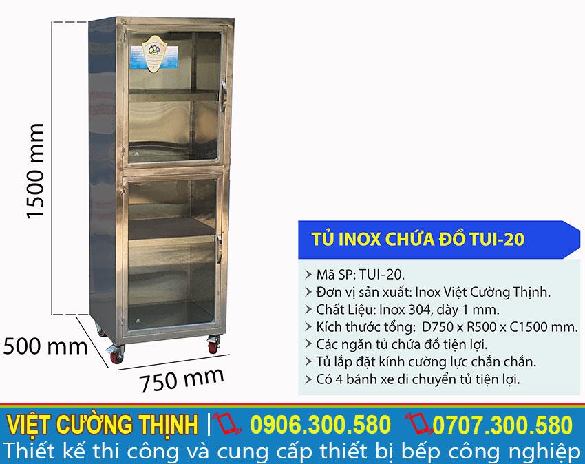 Tỷ lệ kích thước tủ inox chứa đồ TUI-20