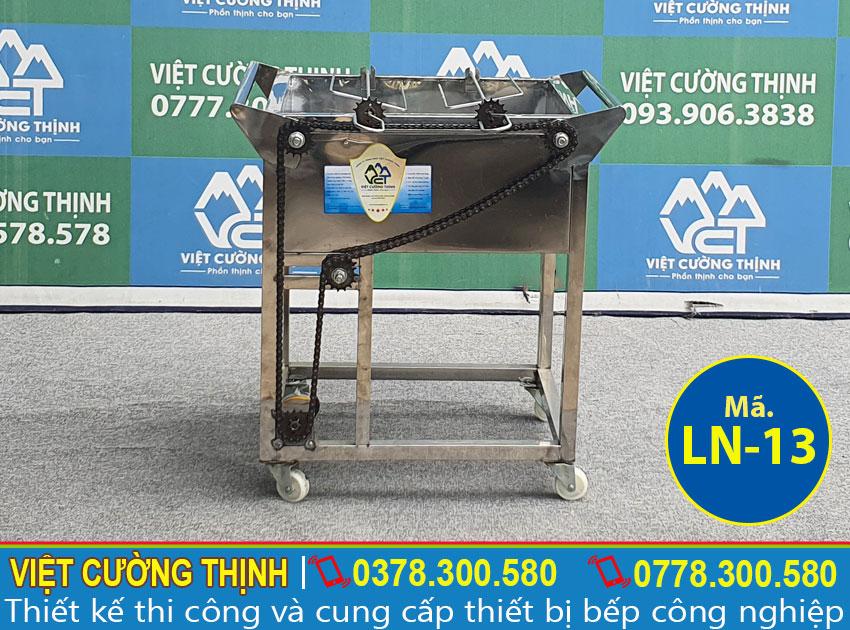Bếp nướng than inox 2 xiên tự động quay LN-13