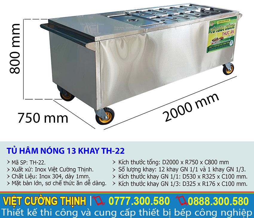 Kích thước tủ hâm nóng thức ăn TH-22