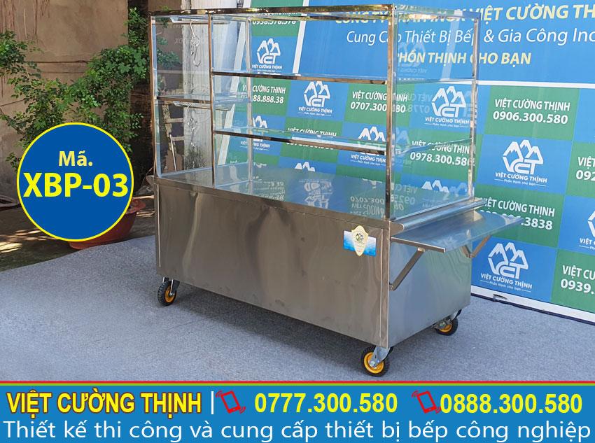 Mẫu xe bán phở inox 304 có bánh xe dễ di chuyển