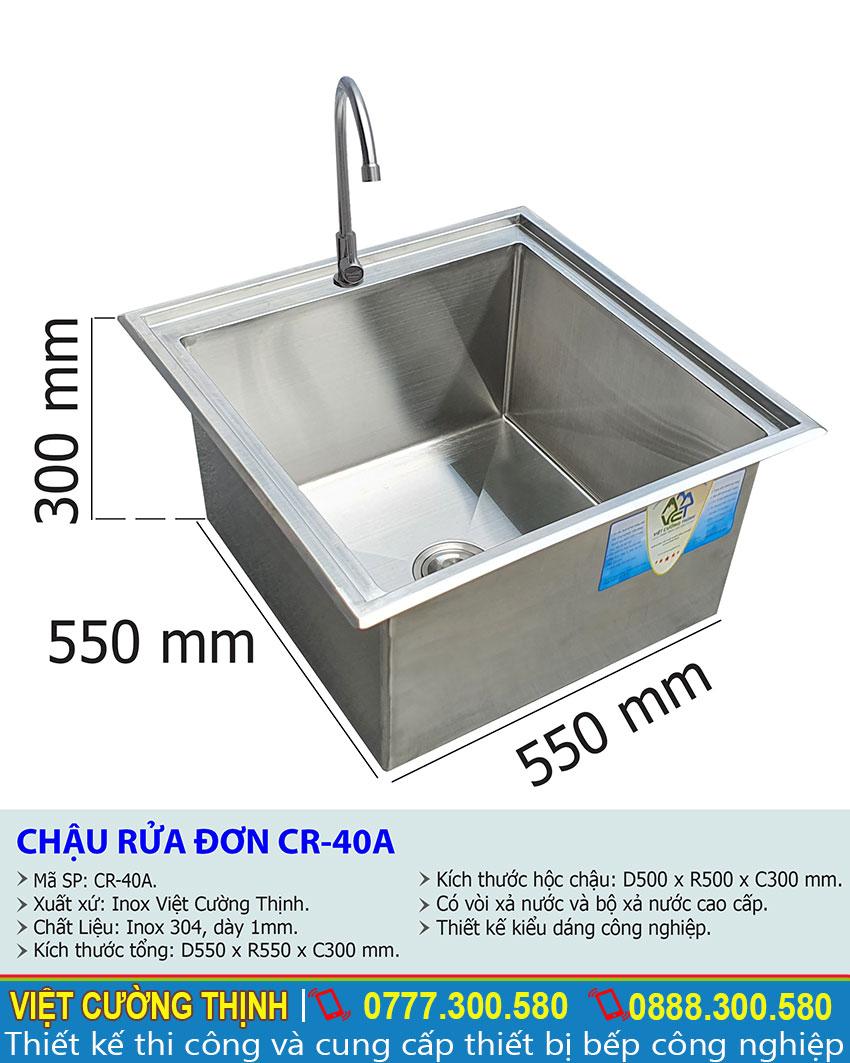 Tỷ lệ chậu rửa đơn CR-40a