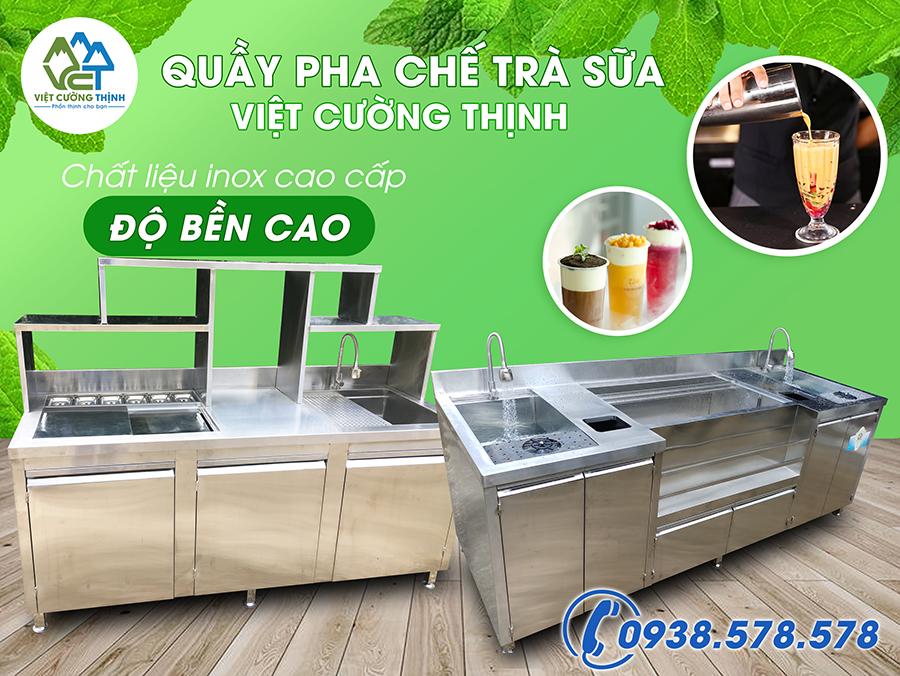 Việt Cường Thinh cung cấp Quầy pha chế trà sữa quầy bar inox chất lượng cao